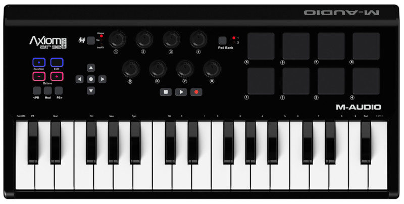 MIDI-клавиатура M-Audio Axiom AIR Mini 32 ( вид сверху )