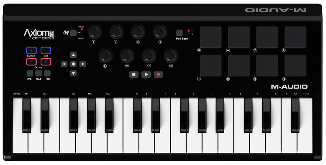 m audio axiom air mini 32 functional midi keyboard with compact sizes imagination works. Black Bedroom Furniture Sets. Home Design Ideas
