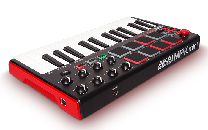 Compact MIDI keyboard Akai MPK Mini Mk2 ( rear angle view )