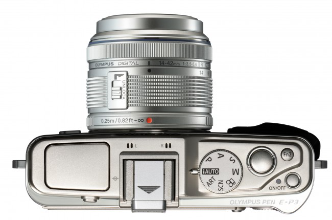 Compact photo-camera Olympus PEN E-P3 ( top view )