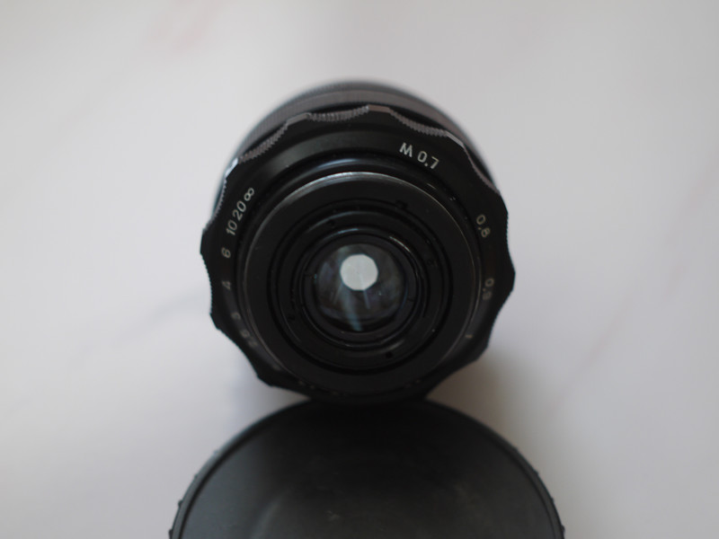 Mir-1V photo lens for M42 mounts ( back view with partially closed diaphragm )