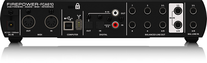Audio interface Behringer FIREPOWER FCA610 ( back panel )