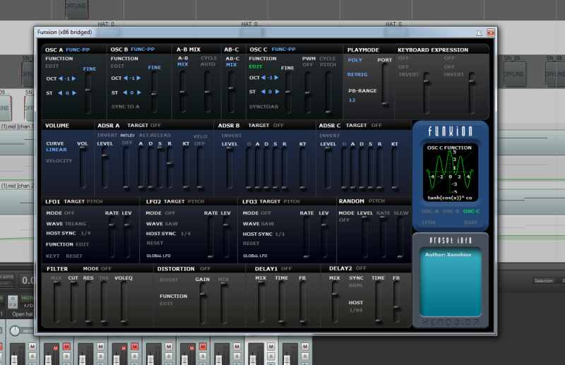 Hybrid VST synthesizer Funxion in DAW REAPER
