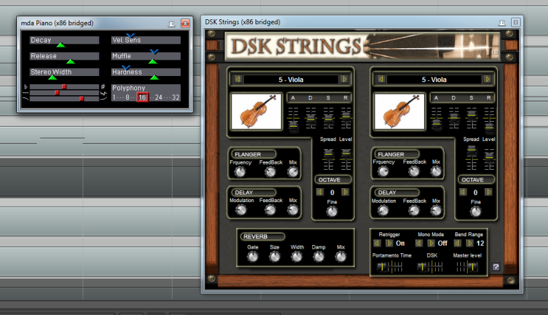 Instruments MDA Piano and DSK Strings in DAW REAPER