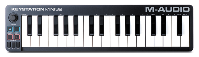 MIDI-клавиатура M-Audio Keystation Mini 32 ( вид сверху )