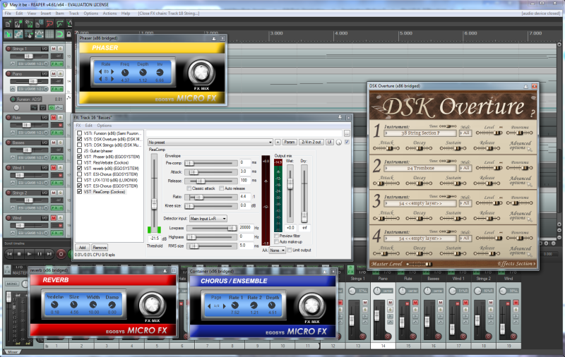 VST instrument DSK Overture and effects ESI Phaser, Reverberation and Chorus and ReaCompressor in DAW REAPER