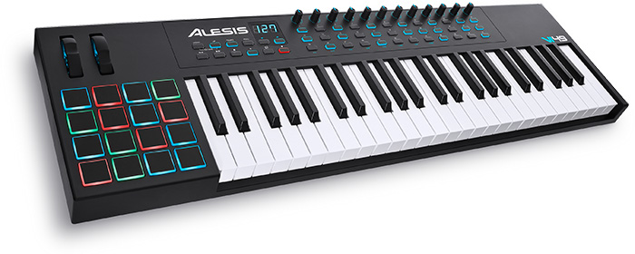 alesis vi49 usb midi keyboard with 16 drumpads 36 assignable buttons and 12 knobs. Black Bedroom Furniture Sets. Home Design Ideas