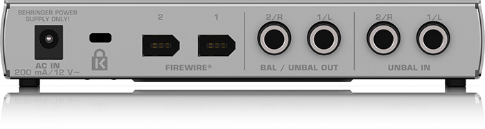 Firewire audio interface Behringer F-CONTROL AUDIO FCA202 ( rear panel )