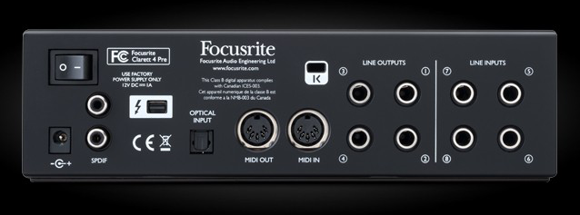 Thunderbolt audio interface Focusrite Clarett 4Pre ( back panel )