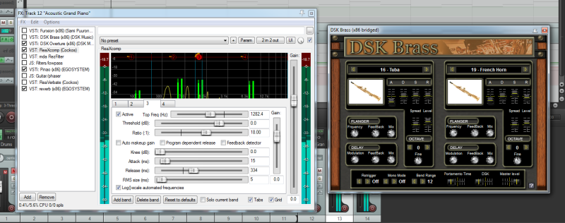 VST processor ReaXcomp and instrument DSK Brass in DAW REAPER