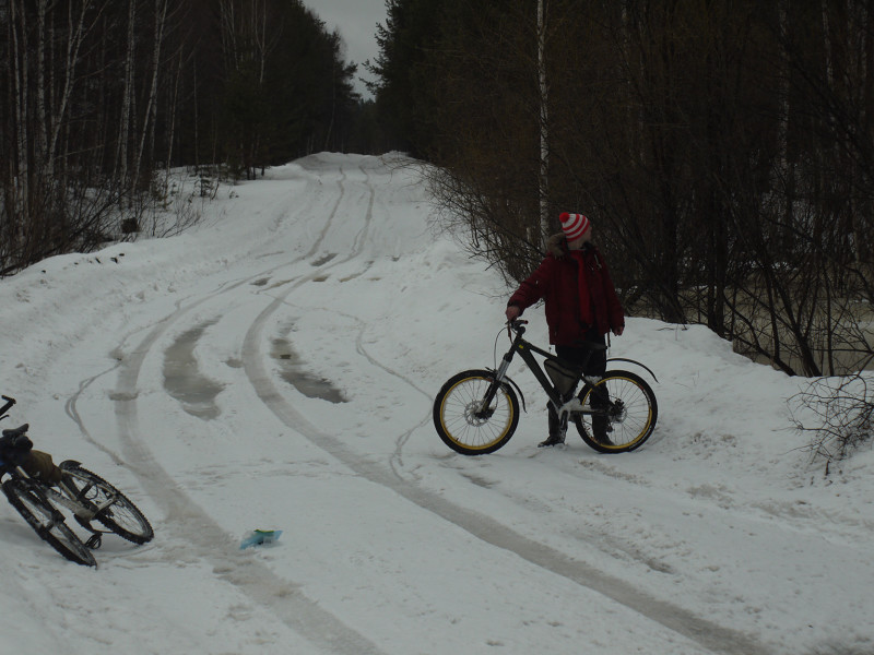 Andrey, bicycles, melting snow and flooded forest areas