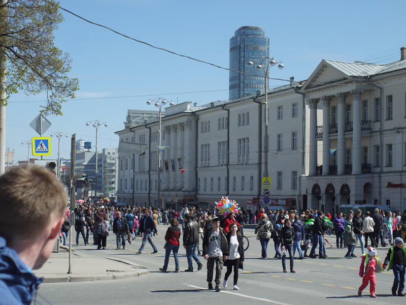 View from 1905 year square, Yekaterinburg, Day of the Victory celebration at 9th May of 2016 year