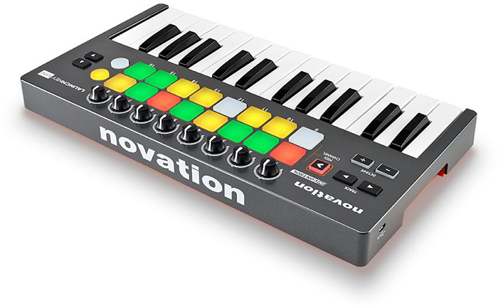 USB MIDI keyboard Novation Launchkey Mini ( back and left panel )